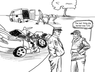 Cartoon-of-Car-Crash-and-Texting
